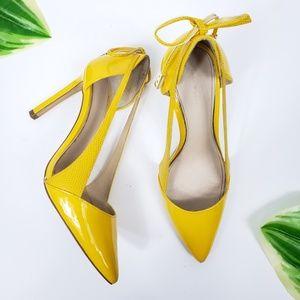 Zara Yellow High Heel Pointy Pumps W/ Bow Sz 38/8